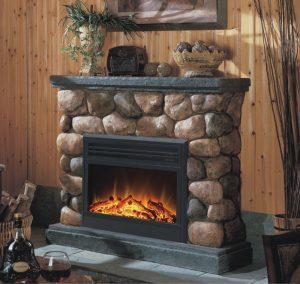 cottage faux electric fireplace heater 300x284 - المدفأه الكهربائية ( الدفاية)